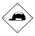 sign warning use helmet vector image
