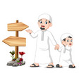 standing and posing near blank wooden signpos vector image vector image