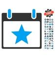 Star Calendar Day Icon With Bonus vector image