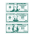 three simplified stylized bills in high contrast vector image vector image