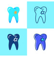 tooth with hole icon set in flat and line style vector image vector image