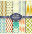 various retro seamless patterns in pastel colors vector image