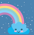 weather rainbow cloud kawaii cartoon vector image