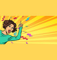 woman pointing finger vector image vector image