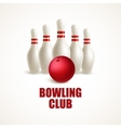 Red bowling ball and white skittles vector image