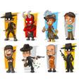 set of cartoon bad guys characters vector image