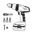 electric screwdriver and bits vector image