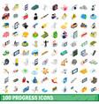 100 progress icons set isometric 3d style vector image vector image