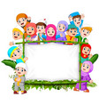 a family are holding jungle woodeen banner vector image vector image