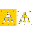 black referral marketing icon isolated on yellow vector image vector image