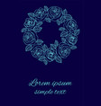 blue roses wedding invitations wreath on navy vector image vector image