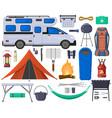 camping hiking touristic tent van campfire vector image