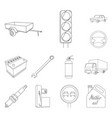 car vehicle outline icons in set collection for vector image vector image