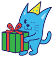Cat Bring Gift vector image