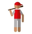 character player baseball with bat red cap vector image vector image