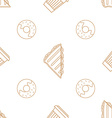coffee paper cup donut sandwich outline seamless vector image vector image
