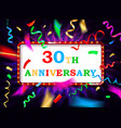 colorful 30 date celebration background vector image vector image