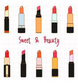 colorful lipstick collection set doodle cartoon vector image