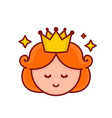 cute funny smiling girl princess face vector image vector image