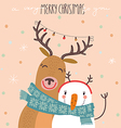 Deer and snowman vector image vector image
