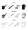 design of kitchen and cook sign collection vector image vector image