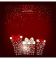 Elegant Christmas background with gift boxes made vector image