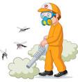 exterminator man killing a mosquito vector image