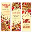 fast food restaurant welcome banner set design vector image vector image