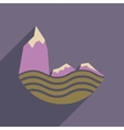 Flat web icon with long shadow sea cliffs vector image vector image