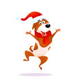 funny cartoon jumping dog xmas flat joyful puppy vector image vector image