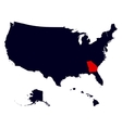 Georgia State in the United States map vector image vector image