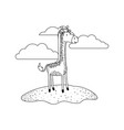 giraffe cartoon in outdoor scene with clouds in vector image