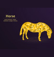 golden horse low poly polygonal animal on blue vector image vector image
