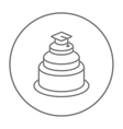 Graduation cap on top of cake line icon vector image vector image