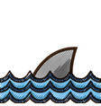 grated nature ocean waves with shark animal vector image vector image