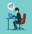 hacker activity cyber thief on internet device vector image