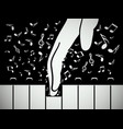 hand on piano keyboard with notes music background vector image vector image