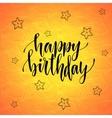 Happy birthday Modern calligraphy on orange vector image