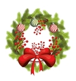 happy merry christmas floral decoration icon vector image