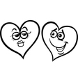 hearts in love cartoon coloring page vector image vector image