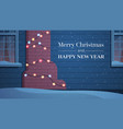 home facade decorated with garlands for new year vector image vector image