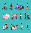 isometric hotel services set vector image vector image