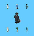 isometric person set of officer pedagogue vector image vector image