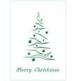 merry christmas green elegant christmas tree on a vector image vector image