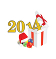 new 2014 year with christmas ball and suprise vector image vector image