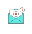 outline video notification in letter vector image vector image