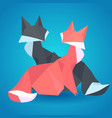 pair of paper origami foxes vector image