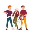 pair teens intimidating boy kicking him and vector image vector image