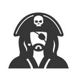 pirate avatar bold black silhouette icon isolated vector image