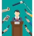 Public speaker and hands of journalists vector image vector image